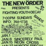 Concert Flier for a Sincerely Paul, Neon Cross, Nobody Special, and Vengeance concert at the Church of the New Order.