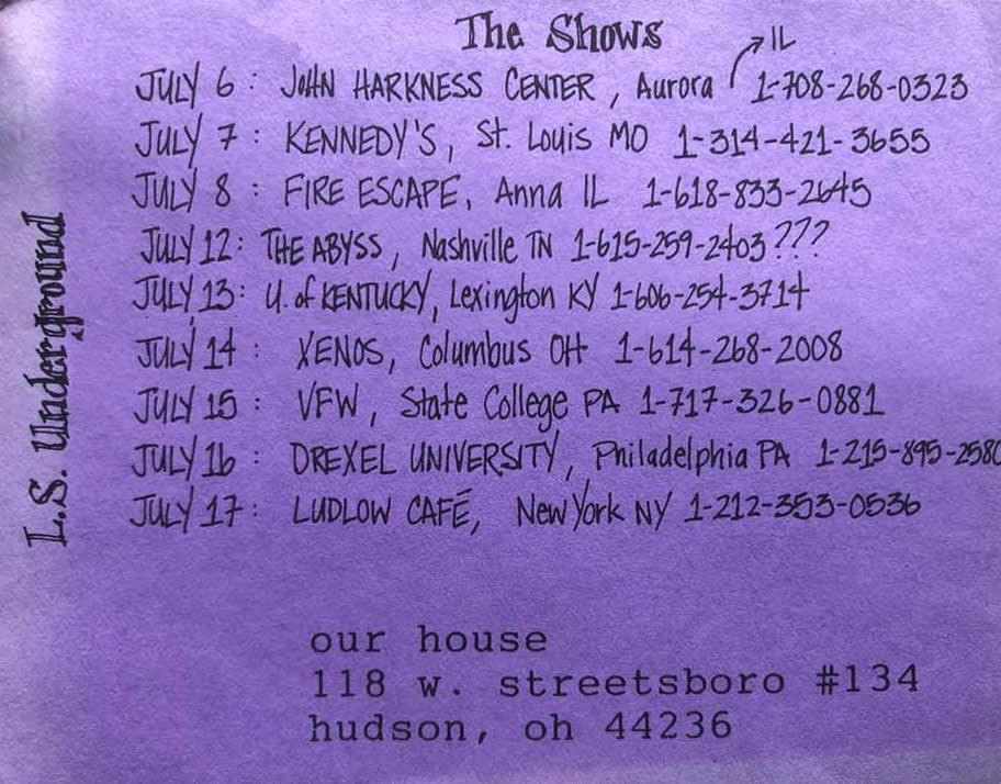 L.S.Underground - Tour Card from July 1993 (back)